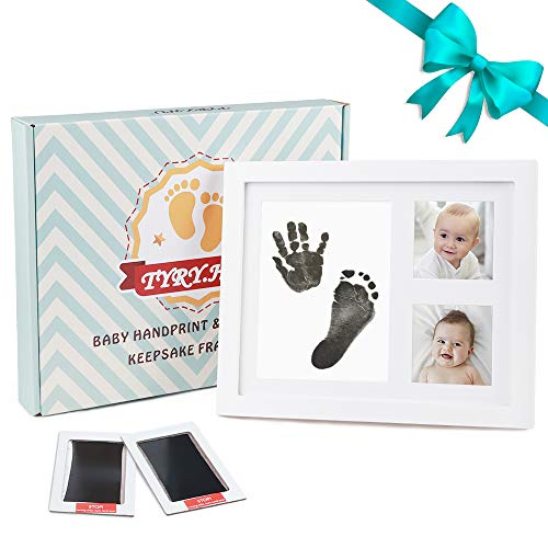 TYRY.HU Baby Handprint Kit Footprint Photo Frame Babyprints Picutre Frames Keepsake for Newborn Boys and Girls Personalised Shower Gift Set Room Wall Nursery Decorations, White ()