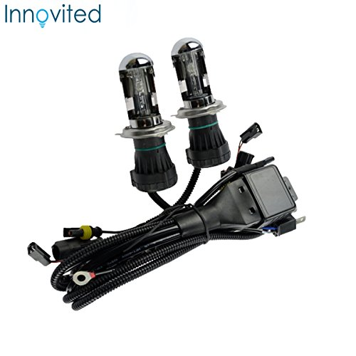 Innovited 35W HID Xenon Bi-xenon Hi/Lo Dual Beam Replacement Bulbs With Relay Harness Controller - H4 9003 - 6000K