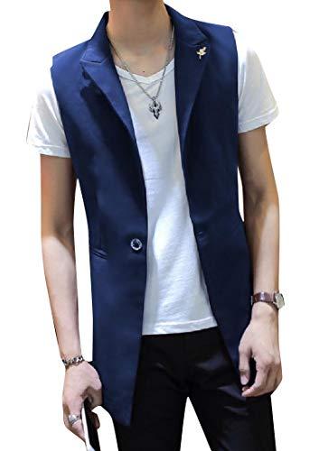 (Abetteric Men Classic Fit Single Button Formal Mid Long Tuxedo Vest Blue L)