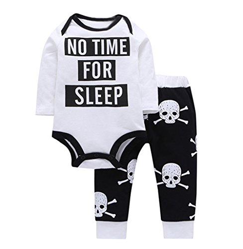 Baby Boys Funny Bodysuits Skull Pattern Pants 2pcs Outfits Set Halloween Costume (18-24M, White)