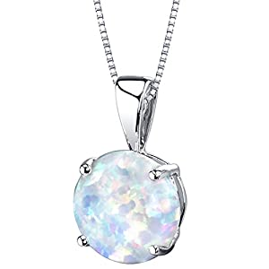 14 Karat White Gold Created Opal Solitaire Pendant