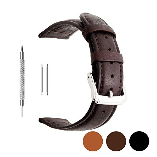 Berfine 20mm Brown Calf Leather Watch Band Replacement,Extra Soft Watch Strap for Men Women (Genuine Leather Watch Strap)