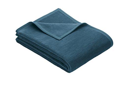 IBENA Plush Solid Color Cotton Blend Throw Blanket Porto - Teal