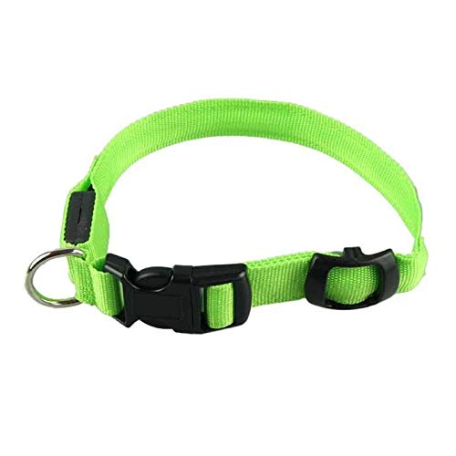New Tech Junkies LED PET Glow Collar Dog Cat Night Safety Lead Adjustable Harness Flash Light up (Small, Green)
