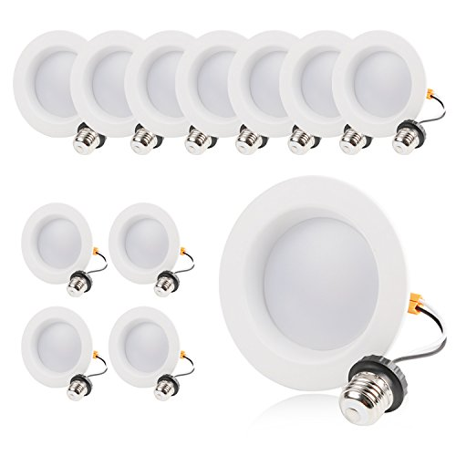 Hykolity 4 Inch LED Recessed Downlight, 10W 700LM Dimmable Retrofit Recessed Can Downlight, 5000K Daylight, Damp Location, 50W BR20/ 65W BR30 Replacement- 12 Pack