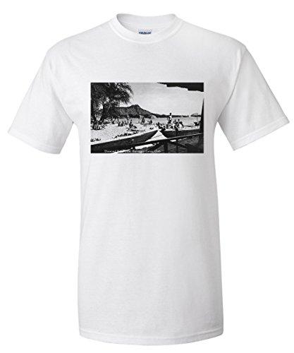 Hawaii - O'ahu Island; Diamond Head from Outrigger Canoe Club - Vintage Photograph (White T-Shirt (Vintage Outrigger Canoe Sign)