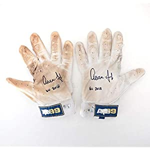 "Aaron Judge New York Yankees Autographed Game Used White and Navy Gloves from the 2018 MLB Season with""GU 2018"" Inscription Size 2XL Fanatics Authentic Certified"