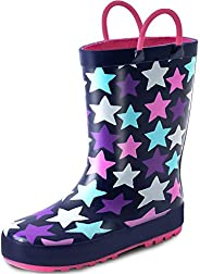 K KomForme Kids Rain Boots for Girls Boys Rubber Printed Rainboots with Handles (Toddler/Little Kid/Big Kid)…