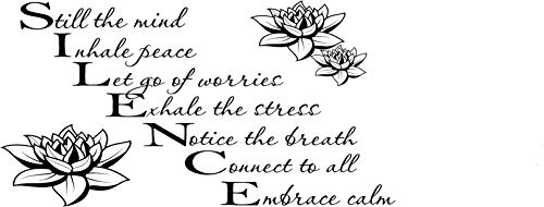 Silence - Still The Mind Wall Decals Quotes Bathroom Inspirational Quotes (16 -