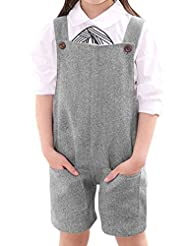 uxcell® Girls Button Closed Sides Two Pockets Suspender Pants