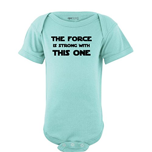 Apericots Cute Funny Nerd Geek Humor The Force is Strong with This One Soft Baby Bodysuit (Newborn, Aquamarine)