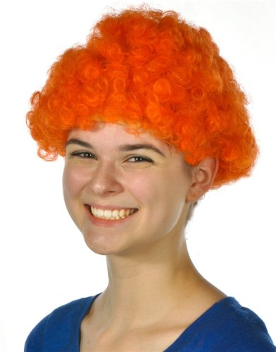 (Rhode Island Novelty Mens Womens Child Costume Accessory Dress Up Orange Afro Team Spirit Clown Wig)