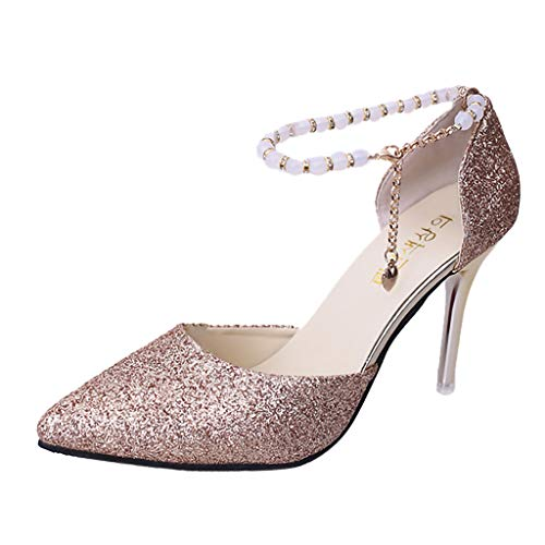 Cenglings Women's Sexy Pointed Toe Sequin Pumps Buckle Stiletto Heel Sandals Ankle Strap Pearl Slip On Shallow Pumps Gold