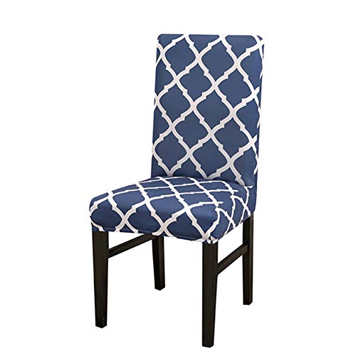 BERTERI Classic Geometric Print Chair Cover 2pcs Blue Elastic Chair Slipcovers Washable Stretch Banquet Hotel Dining Room ()
