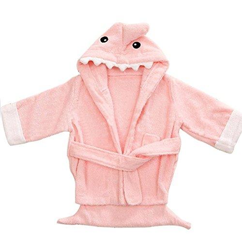 Baby Bathrobe, Hooded Dressing Gown Super Soft Absorbent Cartoon Animal Flannel Sleepwear Nightwear Terry Towelling Bath Rope for Kids 0-3 Years (2-3Y,Pink)