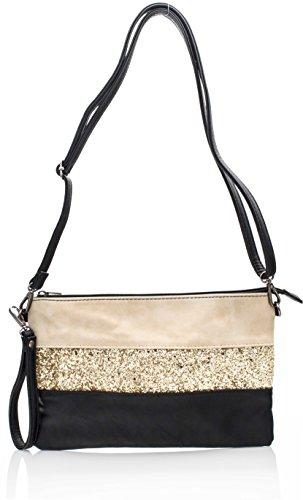 Gallantry - bolso de bandolera para mujer para hombro, con purpurina, pedrería negro/beige