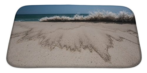 Gear New Bath Rug Mat No Slip Skid Microfiber Soft Plush Absorbent Memory Foam, Atlantic Ocean And Beach, 34x21 Atlantic Coastline Memories