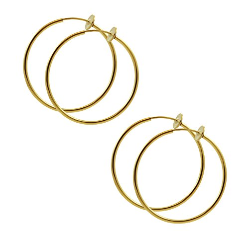 TWO Pair of 1 inch Gold Color Non Pierce Clip on Hoop Earrings for Teen Girls-Women