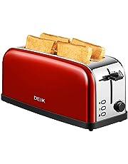 Deik Grille-pain, Toaster 4 Tranches Extra Large Fentes Croissant 1500W, 7 Niveaux Ajustable, avec Plateau de Miettes Acier, Sans BPA - Rouge