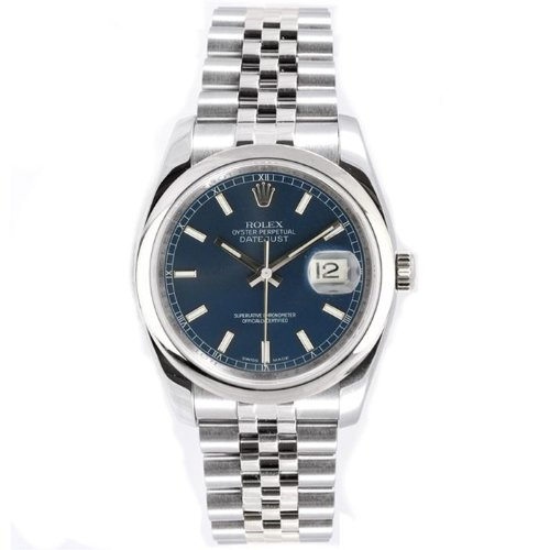 Rolex Mens New Style Heavy Band Stainless Steel Datejust Model 116200 Jubilee Band Stainless Steel Smooth Bezel Blue Stick Dial