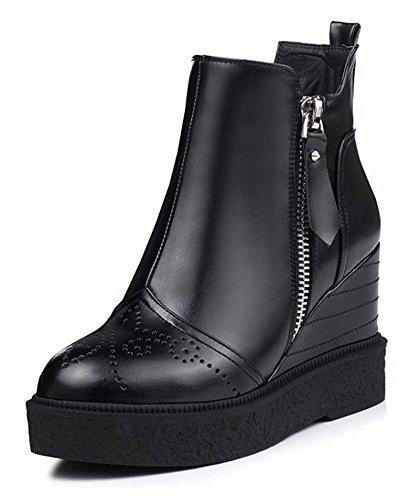 CHFSO Womens Comfortable Waterproof Zipper High Wedge Heel Platform Ankle Martin Winter Boots Black