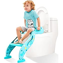 KIDPAR Potty Training Seat for Kids,Adjustable Toddler Toilet Potty Chair with Sturdy Non-Slip Step Stool Ladder, Comfortable Handles and Splash Guard, Easy to Assemble Toilet Seat for Boys and Girls