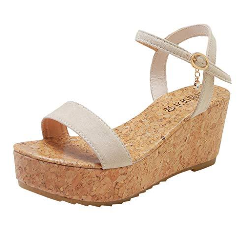 Sanyyanlsy Womens Summer Peep Toe Platform Wedge Sandals Ankle Strap Buckle Strap Diamond Pendant Breathable Sandals White