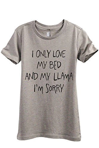 Relaxed Love Crew T-shirt (I Only Love My Bed and My Llama I'm Sorry Women's Fashion Relaxed T-Shirt Tee Heather Tan 2X-Large)