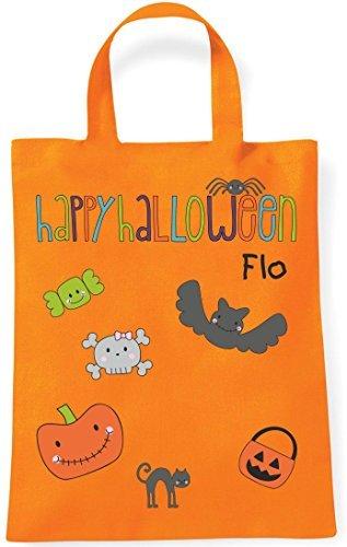 Sacchetto Borsa di stoffa Sacco di raccolta Borsa di cotone Borsa per bambini Borsa a tracolla con personali Nomi mini Halloween (Motivo 4, arancione)