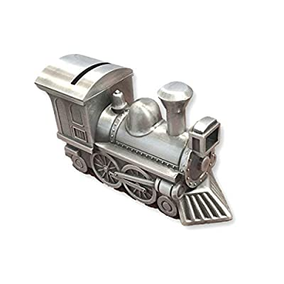Goldia Pewter Finish Train Bank - Engravable Personalized Gift Item : Baby