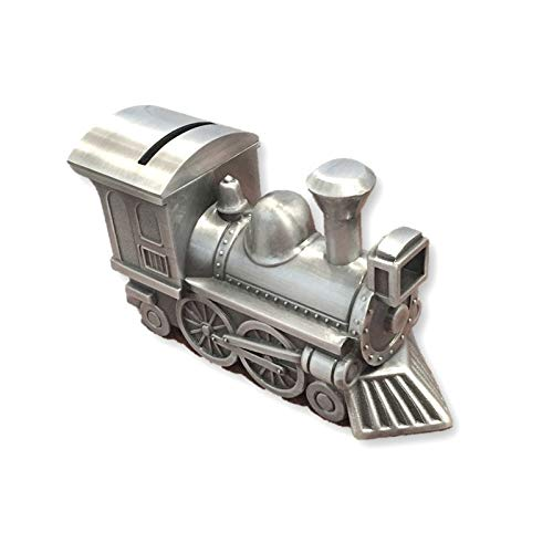 Goldia Pewter Finish Train Bank Engravable Personalized Gift Item