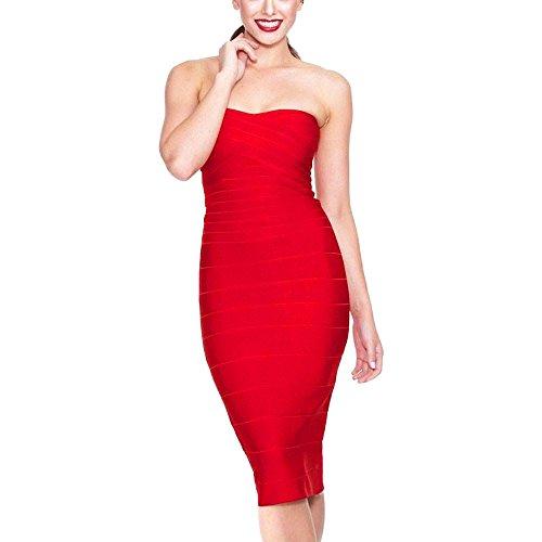 HLBandage Women's Rayon Strapless Knee Length Midi Bodycon Bandage Dress Rojo