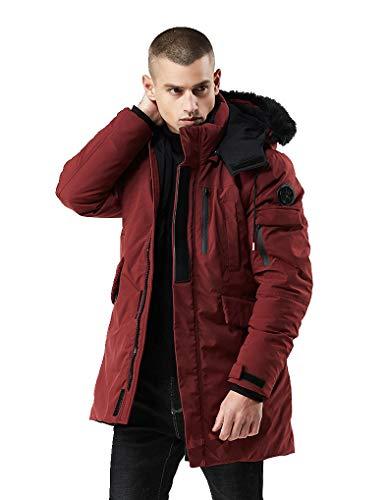 (WEEN CHARM Men's Warm Parka Jacket Anorak Jacket Winter Coat with Detachable Hood Faux-Fur Trim)