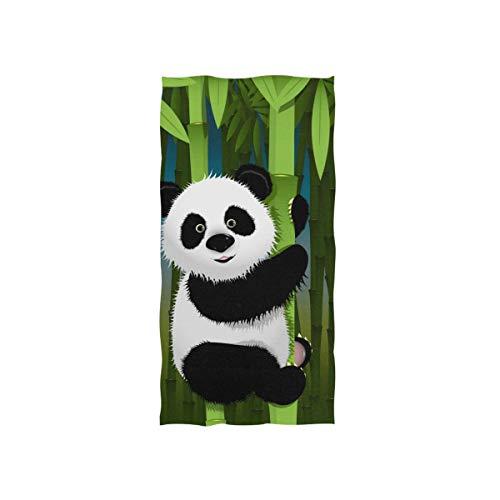 AUUXVA SEULIFE Soft Multipurpose Towel Cute Panda Bamboo Tree, Bathroom Beach Towel Cotton for Home Kitchen Swim Spa Gym, 15x30 inch (Panda Hand Towel)