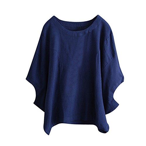 Birdfly Super Loose Wide Cuff Cotton Linen Plain Blouse Tops for Women Breezy Summer (2XL, Blue) (Shirt Cuff Wide)