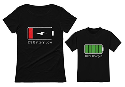 100% Charged & Low Battery Toddler & Women's T-Shirts Funny Matching Set Mom Gift Black Small/Child Black 4T ()