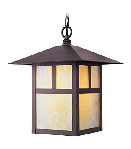 - Bronze 1 Light 100W Outdoor Pendant with Medium Bulb Base and Iridescent Tiffany Glass from Montclair Mission Series