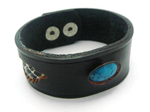 APECTO Jewelry Unisex Genuine Leather & Simulated Turquoise Wristband Cuff Bangle Bracelet (Black), (Hindu Halloween Costumes)