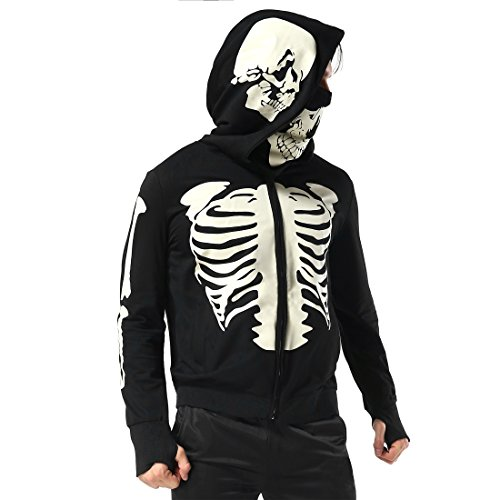 Men's Black Hooded Zipper Sweatshirt Skeleton Skull Mask Hoodie