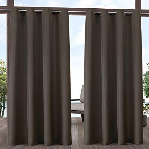 Exclusive Home Indoor/Outdoor Solid Cabana Grommet Top Curtain Panel Pair, Chocolate, ()