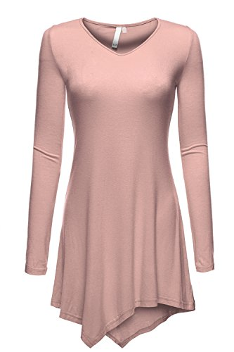 V-neck Long Sleeve Handkerchief Uneven Hem Tunic Tops