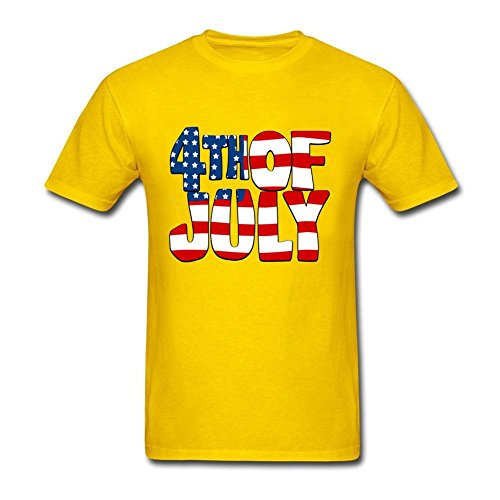 Men's USA Flag O-Neck T-shirt America 4th of July Shirts Yellow - Ban Www