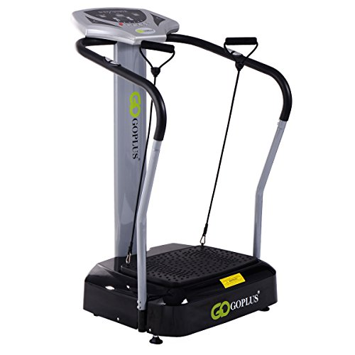 Goplus 2000W Slim Full Body Vibration Platform Fitness Machine Crazy Fit Home Gym, Gray