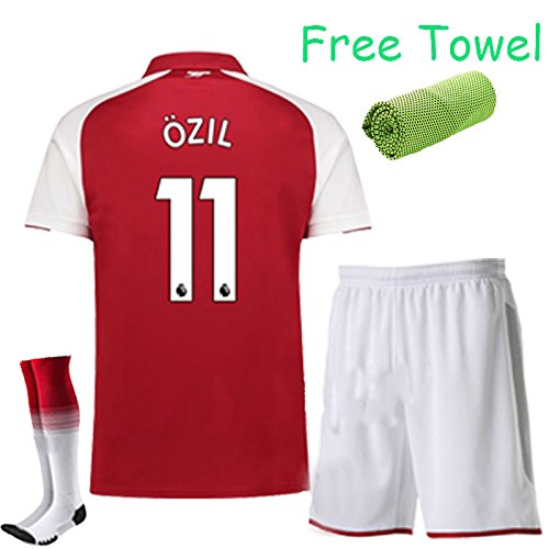 Arsenal Youth Home Jersey (FC FirstClass 2017-18 Football Soccer Red kit Home Jersey Kids Youth Sportwear suit 3-12 YRS With Shirt & Shorts & Socks & Free Face Cloth (OZIL 11, 11-12 years))