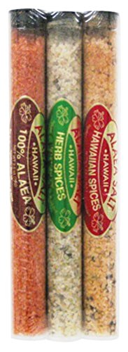 Hawaii 100% Red Alaea Salt & Herb Spices Assorted Gift Set 3 Tubes