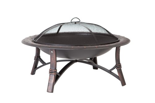 Fire Sense 60857 Roman Fire Pit, Brushed Bronze - 35-inch high temp antique bronze steel fire bowl with hammered lip Brushed painted steel legs One piece mesh fire screen with high temperature paint - patio, fire-pits-outdoor-fireplaces, outdoor-decor - 41mR9jWVXLL -