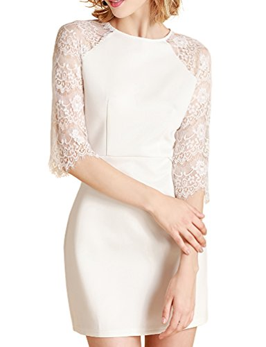 Mantos Eternity Women's Half Bell Sleeves See Through Back Slim Lace Clubwear Cocktail Dress