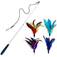 EcoCity Cat Toys - Feather Cat Toys - Include Cat Wand and Natural Feather Refills (5 Pack)