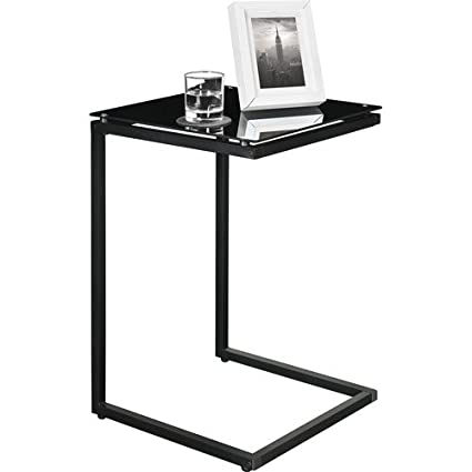 Sturdy Snack Table With Glass Top, Black. Tv Tray Tables Are Versatile, Use