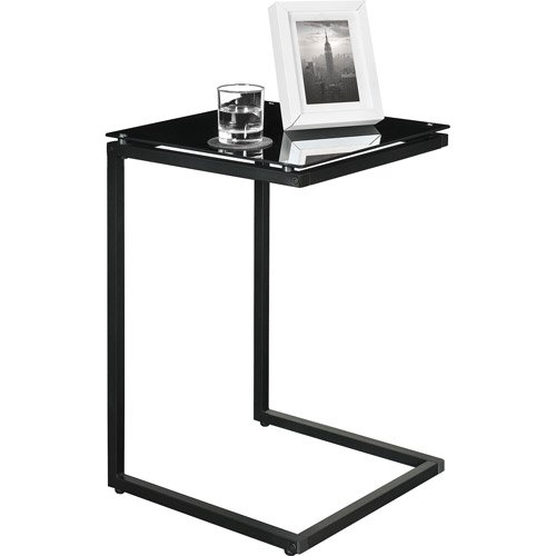 (Sturdy Snack Table with Glass Top, Black. Tv Tray Tables Are Versatile, Use As A Laptop Table, Snack Table or TV Tray Table. This Modern Table Will Suit Most Home)